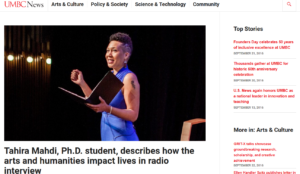 Tahira Mahdi, Ph.D. student, describes how the arts and humanities impact lives in radio interview